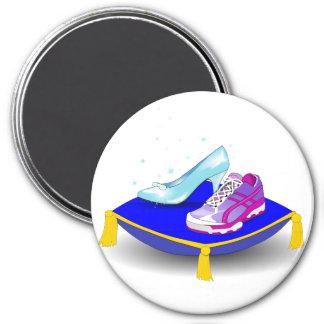 Zapatilla deportiva y deslizador de cristal de la  imán redondo 7 cm