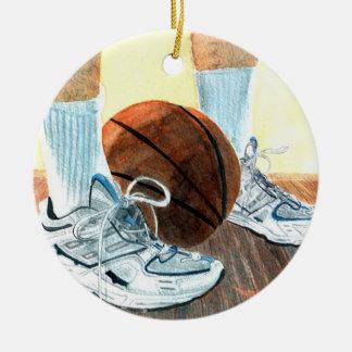 Zapatillas de baloncesto adorno navideño redondo de cerámica