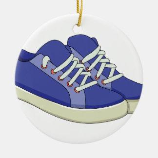 Zapatillas de deporte adorno navideño redondo de cerámica