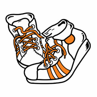 zapatillas de deporte anaranjadas y blancas del ba escultura fotografica