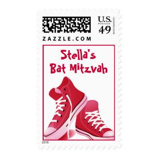 Zapatillas de deporte rosadas de Mitzvah del palo Sello