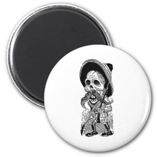 Zapatista  Calavera. c. early 1900's. Mexico. 2 Inch Round Magnet