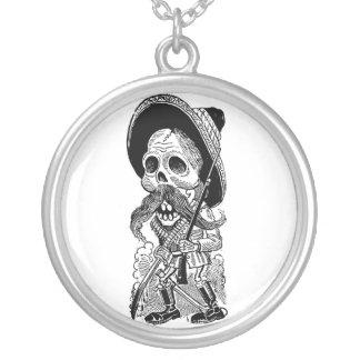 Zapatista  Calavera. c. early 1900's. Mexico. Round Pendant Necklace