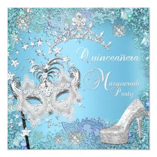 Zapato azul de la tiara del décimo quinto fiesta anuncio personalizado