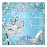 Zapato azul de la tiara del décimo quinto fiesta invitación 13,3 cm x 13,3cm