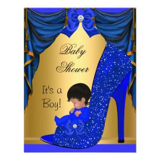 Zapato azul del oro del muchacho afroamericano de comunicado personalizado