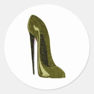 Zapato brillante del estilete del oro pegatina redonda