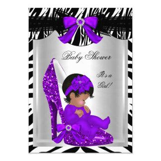"""Zapato de bebé púrpura de la fiesta de bienvenida invitación 5"""" x 7"""""""