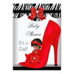 Zapato de bebé rojo del chica afroamericano de la anuncio personalizado