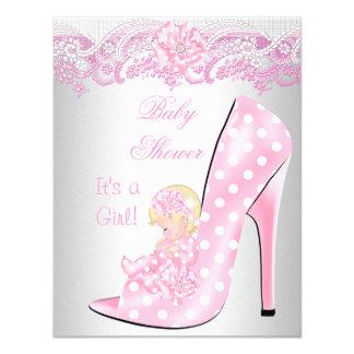 Zapato de bebé rubio lindo del rosa del chica de invitación 10,8 x 13,9 cm