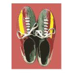 Zapato de bolos retro de los zapatos de bolos del  postal