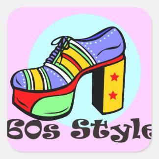 zapato de la plataforma del estilo 60s pegatinas cuadradas