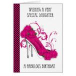 Zapato de moda y cumpleaños color de rosa Ca de Tarjetas