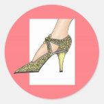 zapato de tacón alto de los años 20 pegatina redonda