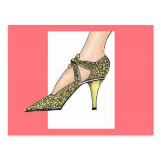 zapato de tacón alto de los años 20 tarjetas postales