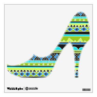 Zapato de tacón alto tribal azteca azul y verde vinilo adhesivo