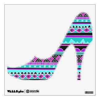 Zapato de tacón alto tribal azteca púrpura y azul vinilo adhesivo