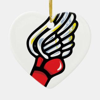 zapato del atleta adorno navideño de cerámica en forma de corazón