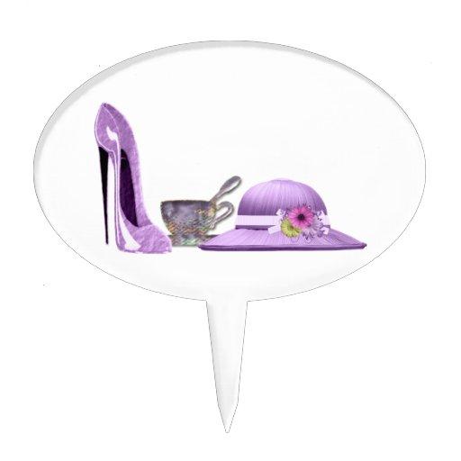 Zapato del estilete de la lila, gorra y arte de la figura de tarta