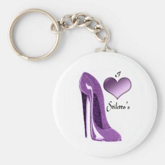 Zapato del estilete de la lila y corazón delicioso llavero redondo tipo pin