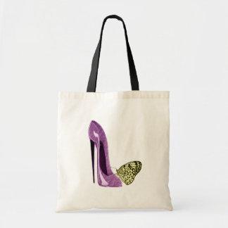 Zapato del estilete de la lila y mariposa amarilla bolsa tela barata
