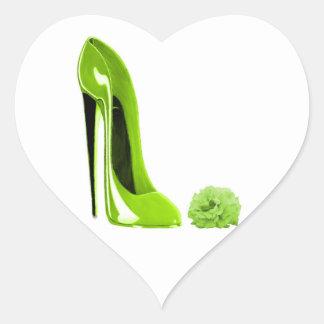 Zapato del estilete de la verde lima calcomanías corazones personalizadas