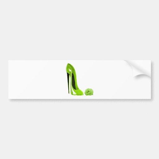 Zapato del estilete de la verde lima y subió etiqueta de parachoque