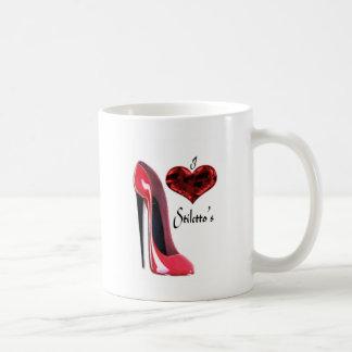 Zapato del estilete del amor y corazón rojos 3D Tazas De Café