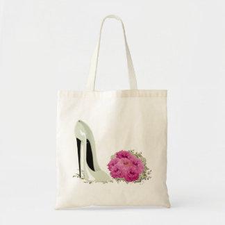 Zapato del estilete del boda y ramo de rosas bolsa tela barata