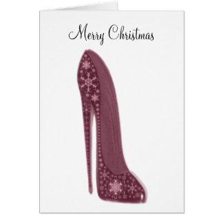 Zapato del estilete del navidad y GIF rojos del Tarjeta De Felicitación