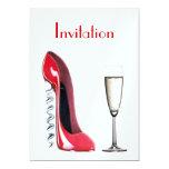 Zapato del estilete del sacacorchos y vidrio rojos invitación 12,7 x 17,8 cm