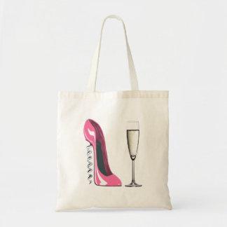 Zapato del estilete del sacacorchos y vidrio rosad bolsa tela barata