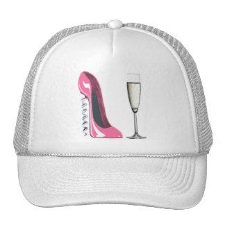 Zapato del estilete del sacacorchos y vidrio rosad gorras