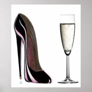 Zapato del estilete e impresión negros de Champán Póster