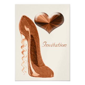 """Zapato del estilete y 3D corazón modernos y Invitación 5"""" X 7"""""""