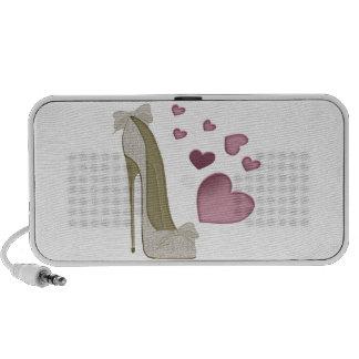 Zapato del estilete y arte rosado de los corazones PC altavoces