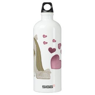 Zapato del estilete y arte rosado de los corazones