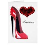 Zapato del estilete y corazón rojos 3D Felicitaciones