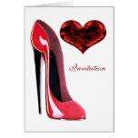 Zapato del estilete y corazón rojos 3D Tarjeta