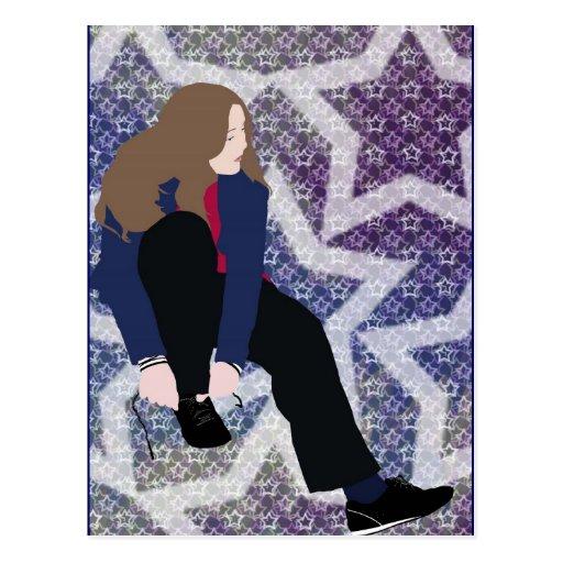 zapato del lazo del chica de la estrella del anima postal