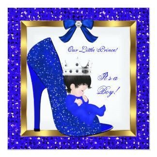 """Zapato del príncipe azul real del muchacho de la invitación 5.25"""" x 5.25"""""""