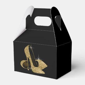 Zapato del tacón alto del brillo del oro cajas para regalos de fiestas