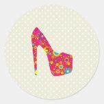 Zapato del tacón alto, flores - azul amarillo rojo