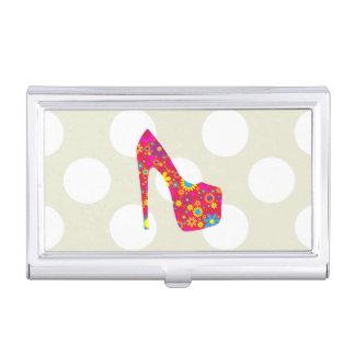 Zapato del tacón alto, flores - azul amarillo rojo caja de tarjetas de negocios