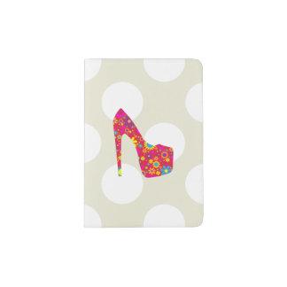 Zapato del tacón alto, flores - azul amarillo rojo porta pasaporte