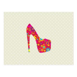 Zapato del tacón alto, flores - azul amarillo rojo tarjeta postal