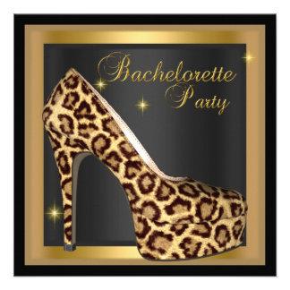 Zapato del talón del leopardo del negro del oro de anuncio personalizado