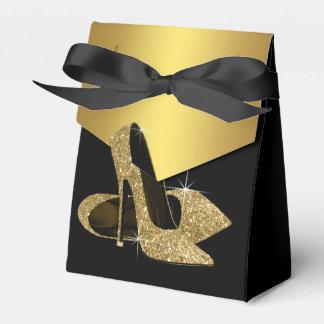 Zapato elegante del tacón alto del brillo del negr paquetes de regalo