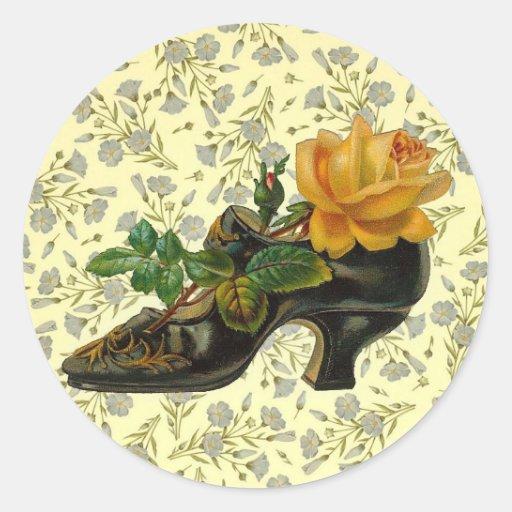 Zapato floral del Victorian del vintage Pegatina Redonda