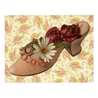 Zapato floral del Victorian del vintage Postal